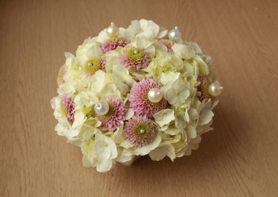 bouquet tondo con perle