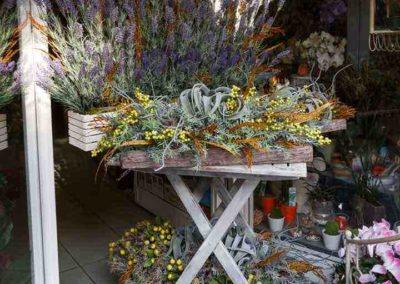 composizione all'entrata della fioreria a Pisa